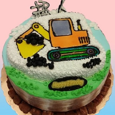 挖土機2D立體蛋糕
