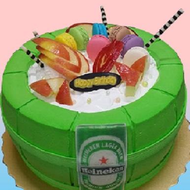 海尼根啤酒桶3D蛋糕