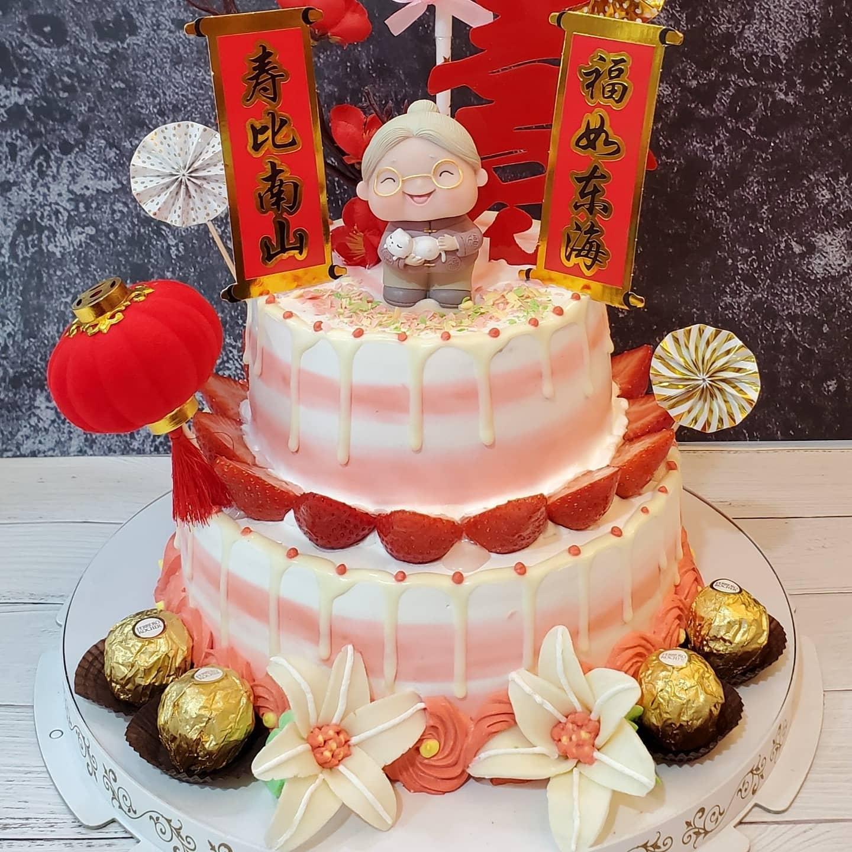 長壽賀歲8吋+6吋2層蛋糕